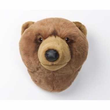 Pluche  Bruine berenkop aan muur dierenkop