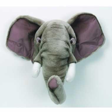 Pluche decoratie olifanten hoofd dierenkop