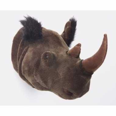 Pluche decoratiekop neushoorn dierenkop